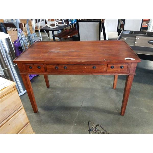 WOOD DESK WITH 3 DRAWERS AND 2 SLIDE OUT TRAYS