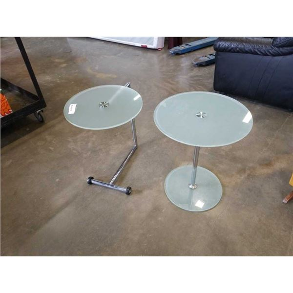 2 ROUND GLASSTOP ENDTABLES - ONE ROLLING