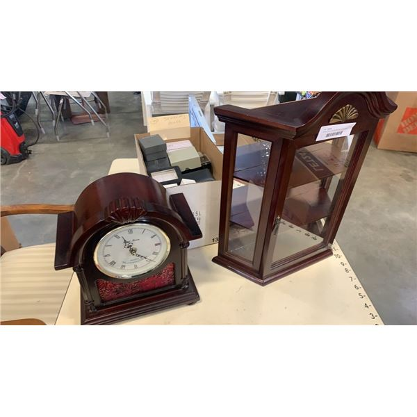 Daniel Dakota mantle clock with small display case and 40 jewelry boxes