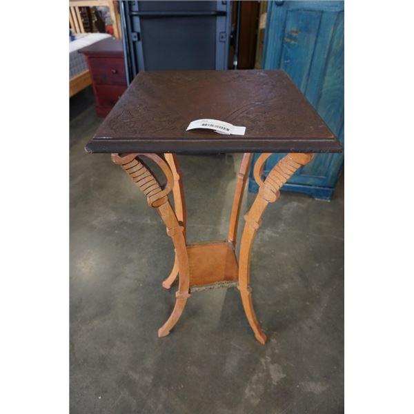 CARVED WOOD PARLOUR TABLE - SWORD MOTIF LEGS