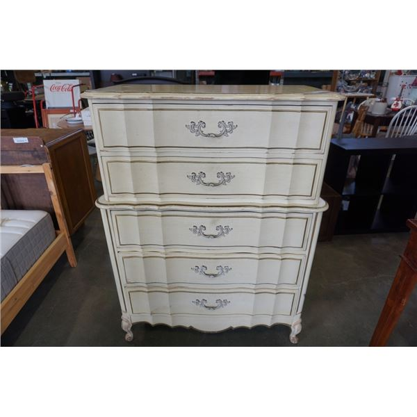 FRENCH PROVINCIAL 5 DRAWER CHEST OF DRAWERS