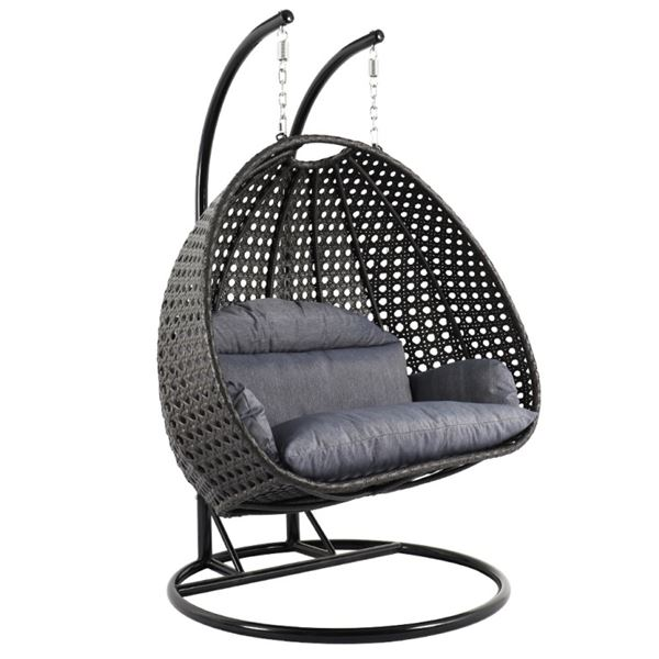 BRAND NEW MODERN RATTAN OUTDOOR DOUBLE HANGING EGG CHAIR RETAIL $2199 W/ CHARCOAL CUSHIONS - UV AND