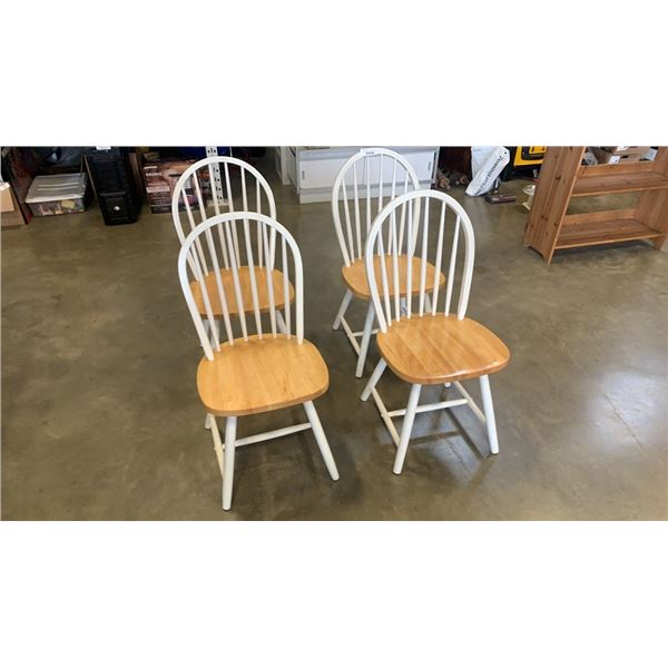 4 WHITE AND MAPLE HOOPBACK CHAIRS