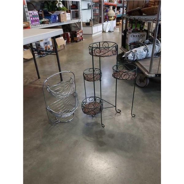 4 tier metal and woven stand with metal swinging baskets