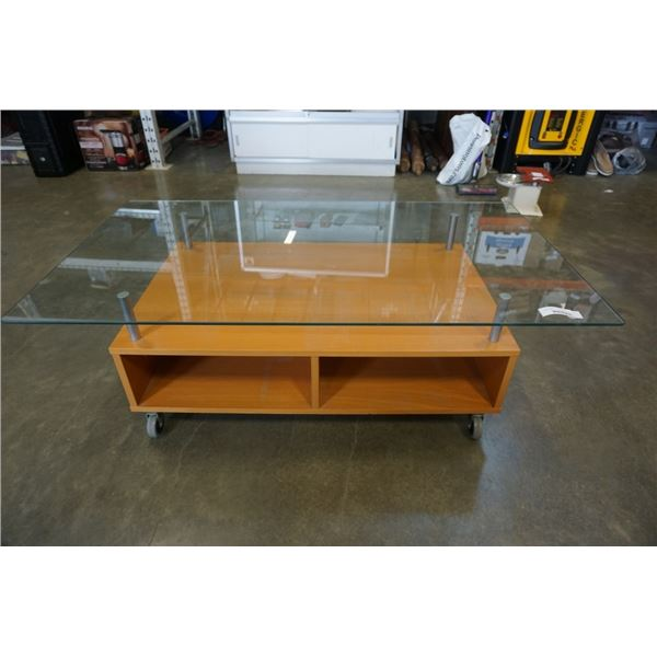 GLASSTOP ROLLING COFFEE TABLE