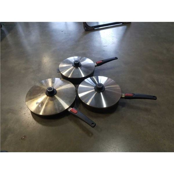 3 German Woll Diamind lite non stick, induction saucepans with detachable handles and lids