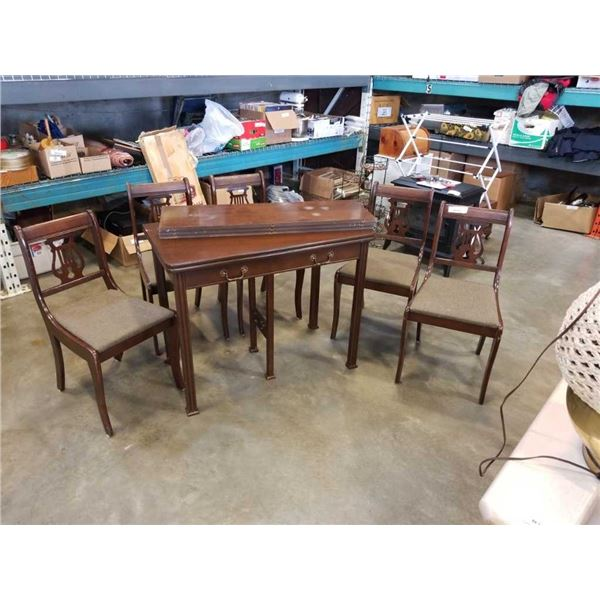 VINTAGE FLIP TOP DINING TABLE WITH 3 LEAFS AND 5 CHAIRS
