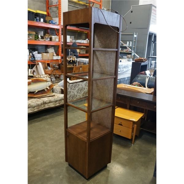 VINTAGE SHELF WITH GLASS SHELVES 77 INCHES TALL
