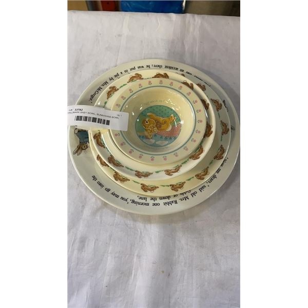 HALLMARK BABY BOWL, BUNNYKINS BOWL AND PLATE AND PETER RABBIT PLATE