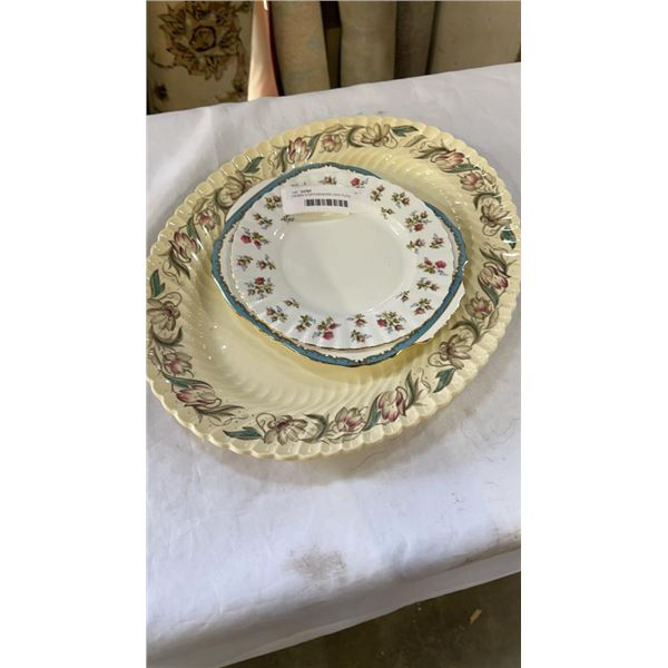 CROWN STAFFORDSHIRE CAKE PLATE, WINSOME ROYAL ALBERT PLATE AND SUSIE COOPER LARGE PLATTER