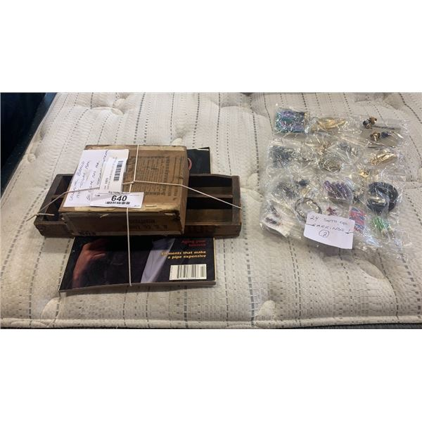 VINTAGE CIGAR BOXES, LOT OF EARRINGS AND PIPES MAGAZINE