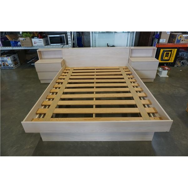 QUEEN SIZE BED FRAME WITH ATTACHED NIGHTSTANDS