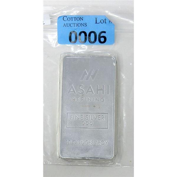 10Oz. Asahi Refining .999 Fine Silver Bar