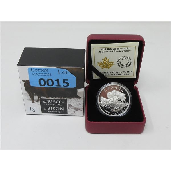 2014 .9999 Fine Silver Canadian $20 Bison Coin