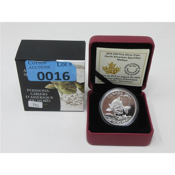"""2015 Fine Silver Canadian """"Sport Fish"""" $20 Coin"""