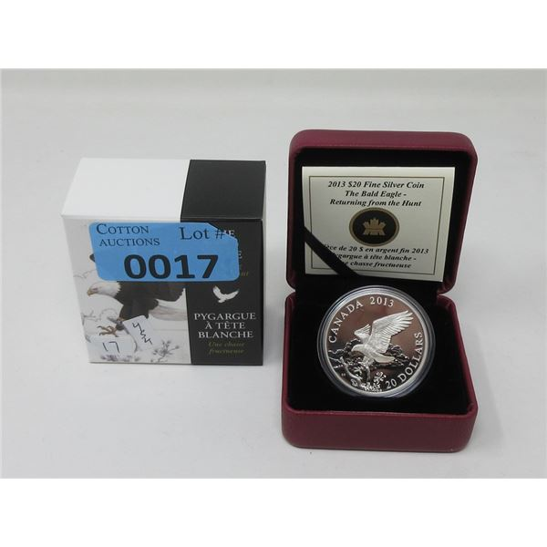 "2013 Fine Silver Canadian ""Bald Eagle"" $20 Coin"