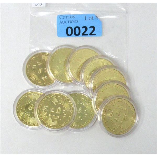 10 Gold Plated Bitcoin Commemorative Rounds