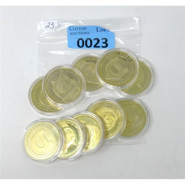 10 Gold Plated Dogecoin Commemorative Rounds