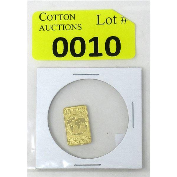 1/10th Oz. 2016 Canada .9999 Gold Rare Currency Bar