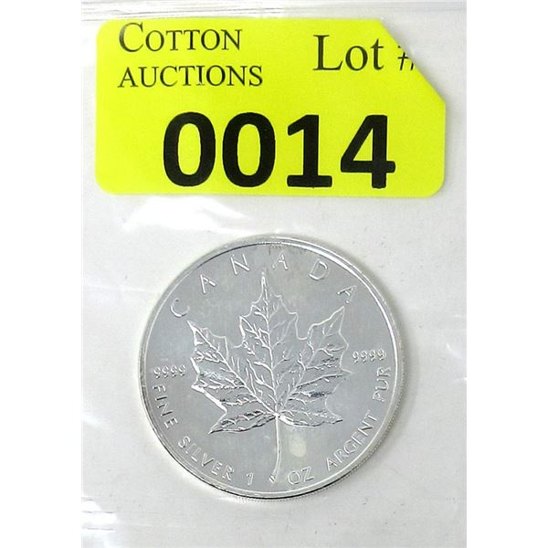 1 Oz .9999 Fine Silver 2008 Canada Maple Leaf Coin