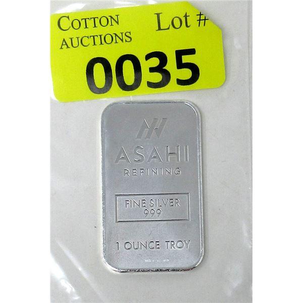 1Oz. Asahi Refining .999 Fine Silver Bar