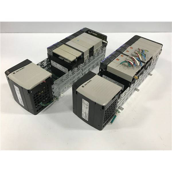 (2) - ALLEN-BRADLEY 1756-A10 10 SLOT CHASIS W/ POWER SUPPLY 1756-PA75 & MODULES AS SHOWN IN THE PICS