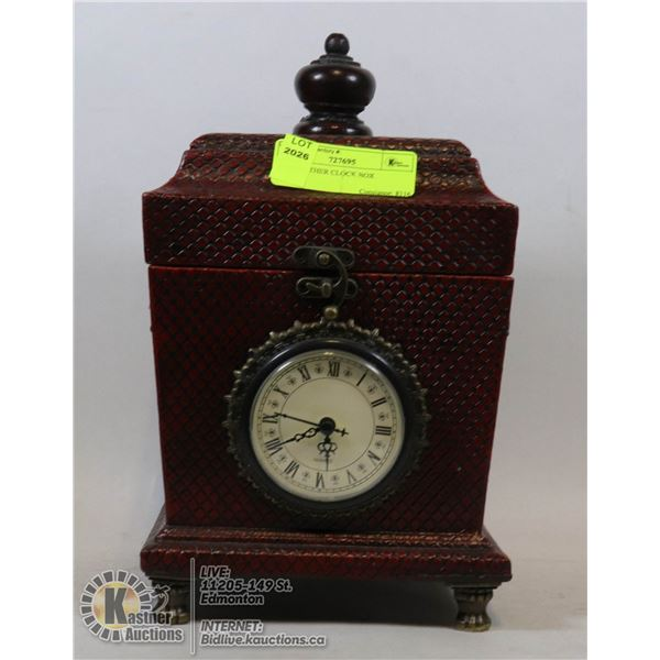 RED LEATHER CLOCK BOX