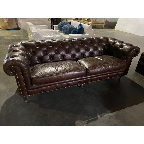 LEATHER BUTTON BACK ROLLING SOFA