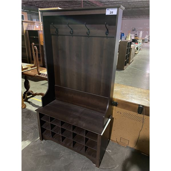 ENTRANCE BENCH WITH 4 COAT HOOKS & CUBBY STORAGE