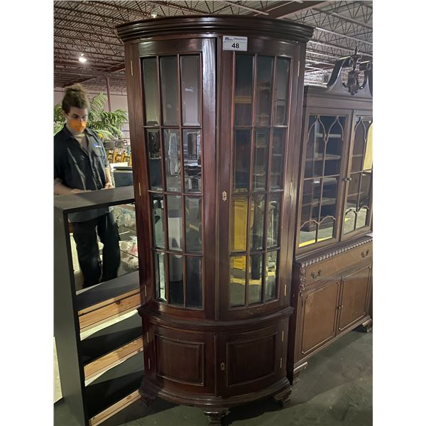 CORNER CHINA CABINET WITH KEYS 31 X 79""