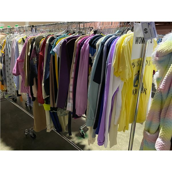 ASSORTED CLOTHING BRANDS SUCH AS : TOP SHOP, AMERICAN APPAREL, BABATON, & MORE RACK INCLUDED