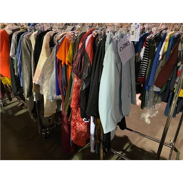 ASSORTED CLOTHING BRANDS SUCH AS : TOP SHOP, ZARA, COSTUMES, & MORE RACK INCLUDED