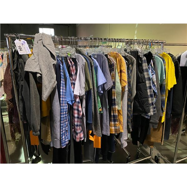 ASSORTED CLOTHING BRANDS SUCH AS : TOMMY HILFIGER, OLD NAVY, ZARA, & MORE RACK INCLUDED
