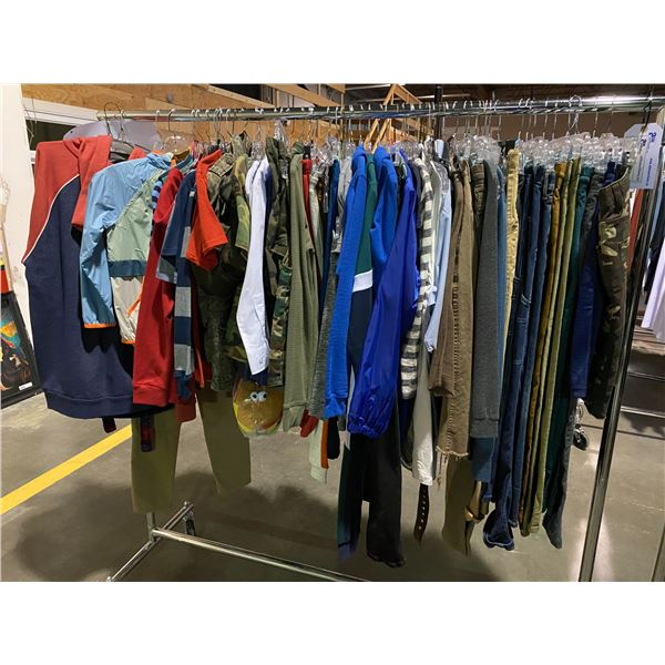 ASSORTED CLOTHING BRANDS SUCH AS : ZARA, RALPH LAUREN, AMERICAN APPAREL, & MORE RACK INCLUDED
