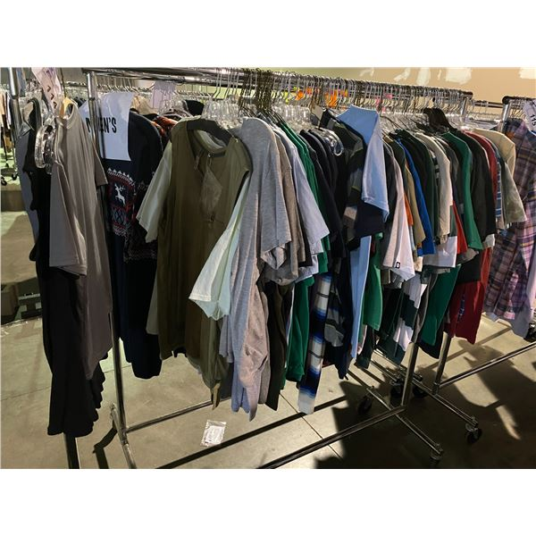 ASSORTED CLOTHING BRANDS SUCH AS : AMERICAN APPAREL, DICKIES, TOPMAN, & MORE RACK INCLUDED