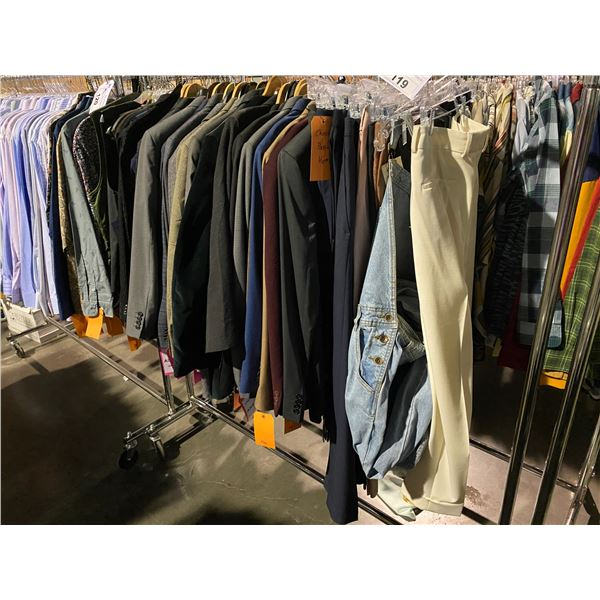 ASSORTED CLOTHING BRANDS SUCH AS : TOP MAN, PERRY ELLIS, CALVIN KLEIN, & MORE RACK INCLUDED