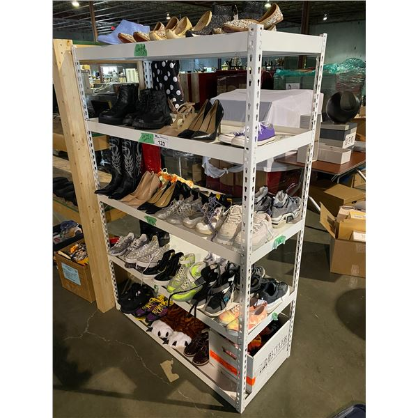5 TIERS OF ASSORTED SHOES BRANDS SUCH AS : VANS, JORDAN, CONVERSE, & MORE SHELVING UNIT INCLUDED