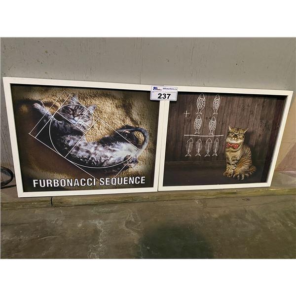 2 FRAMED CAT ART