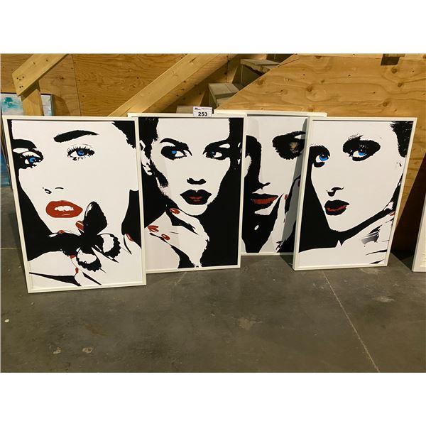 4 FRAMED PORTRAIT ART