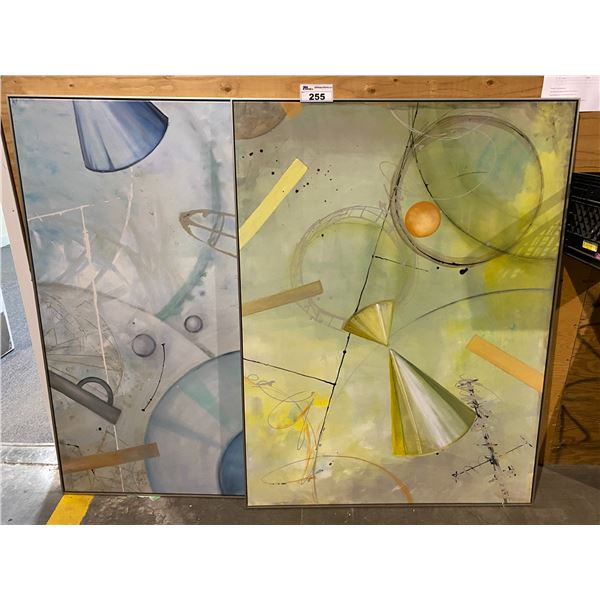 2 ABSTRACT OIL PAINTINGS