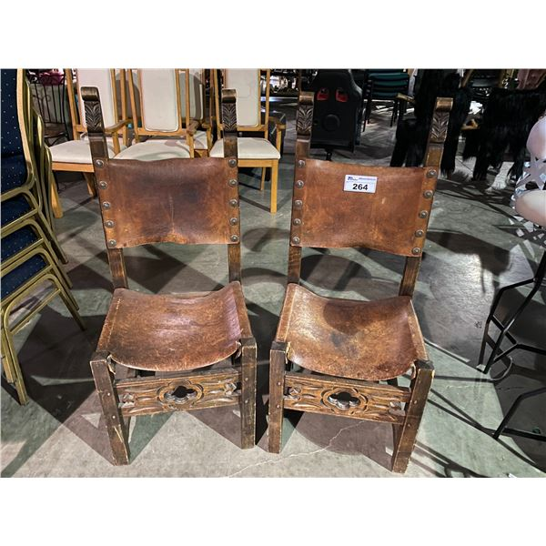2 LEATHER BACK CHAIRS