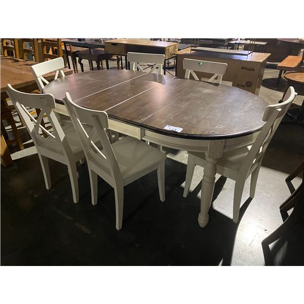 """DINING TABLE WITH 6 CHAIRS & 2 LEAF INSERTS 75 X 41"""""""