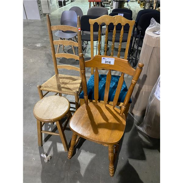 3 CHAIRS + 1 STOOL