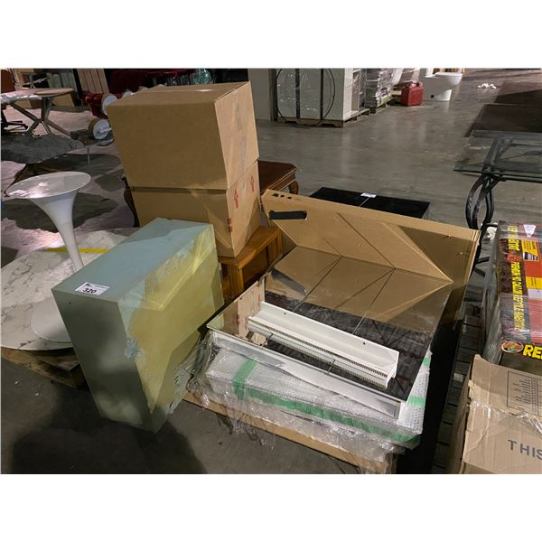 PALLET OF MISC. ITEMS : BATHROOM MIRROR CABINETS, FOAM, SIDE TABLES & MORE