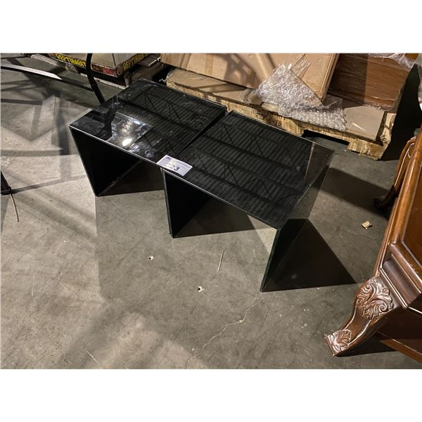 """2 GLASS SIDE TABLES 16 X 16"""""""