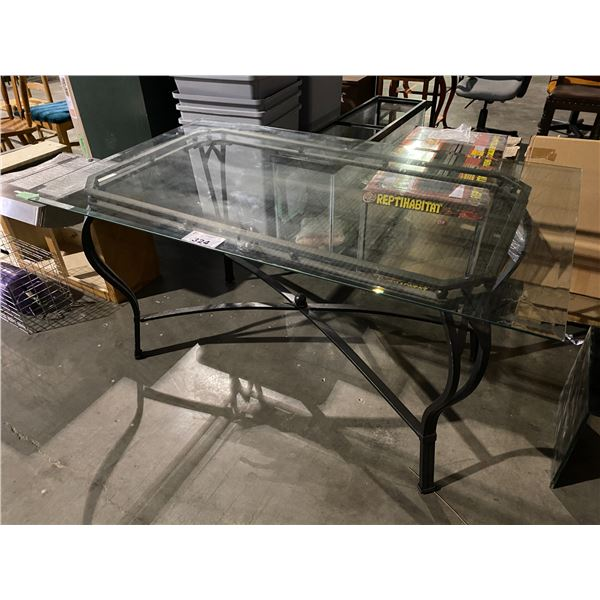 """GLASS TABLE WITH 1 DAMAGED CORNER 36 X 59"""""""