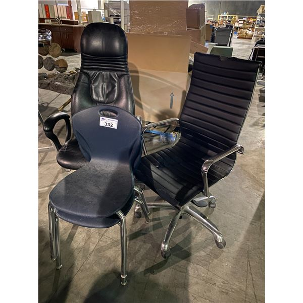 2 ROLLING OFFICE CHAIRS & 2 CHAIRS