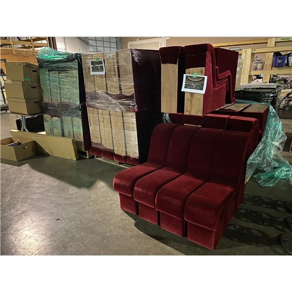 4 PALLETS OF RED VELVET BOOTH STYLE SEATING