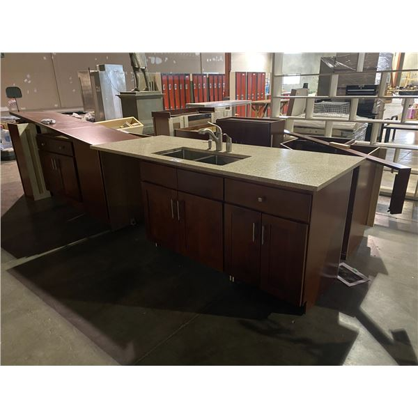 FULL KITCHEN CABINET SET WITH GRANITE TOPS & DOUBLE STAINLESS STEEL SINK