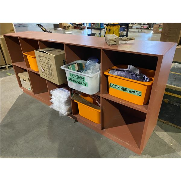 """10 CUBBY STORAGE UNIT WITH CONTENTS 18 X 89 X 40"""""""